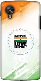 AMZER Handcrafted Designer Printed Slim Snap on Hard Case for Google Nexus 5 - I Support Love India