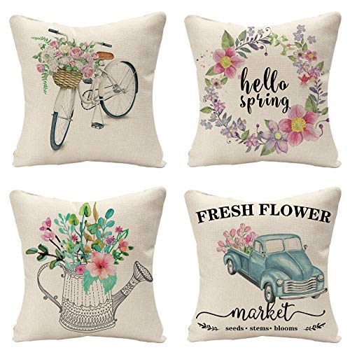 Tosewever Set of 4 Decorative Spring Flower Throw Pillow Covers - Bicycle Car Linen 18 x 18 Inches Pillow Cushion Case for Sofa Couch Bed Home Outdoor Car (18' x 18', Spring/Flower)