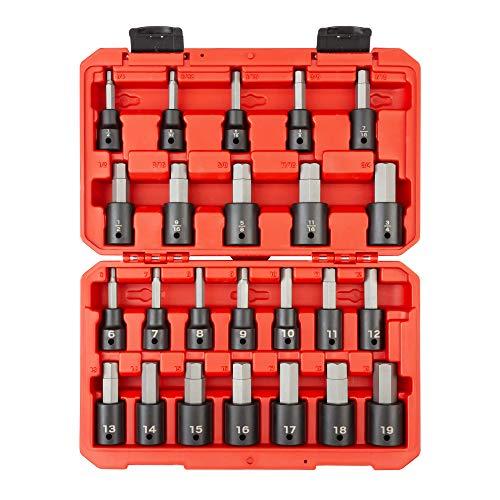TEKTON 1/2 Inch Drive Hex Impact Bit Socket Set, 24-Piece (1/4-3/4 in, 6-19 mm)   SIB92311