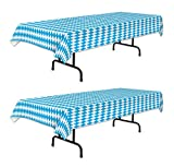 """Beistle Plastic Oktoberfest Table Covers 2 Piece German Party Supplies And Decorations, 54"""" x 108"""", Blue/White"""
