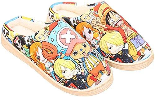 Zapatillas de Estar por Casa Felpa Japonesas Lindas de Anime para Hombres y Mujer de Otoño e Invierno Zapatos Casuales Cálidos Antideslizantes Caseros One Piece 2-(Mujer39-42/Hombre38.5-41) EU 280