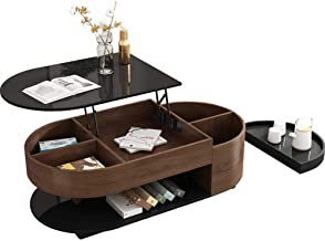 Multifunction Dining Table - Minimalist Wooden Lift Top Coffee Table with Hidden Storage Compartment &Shelf for Home Livin...