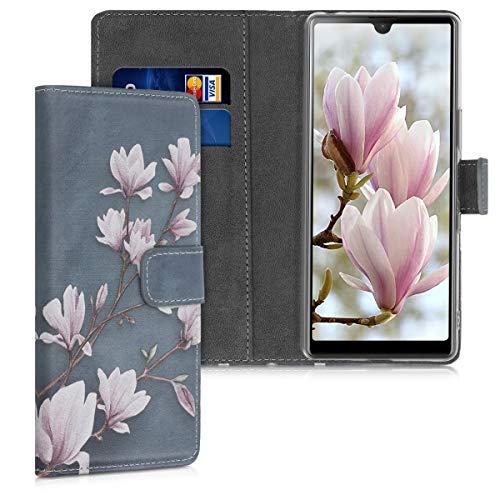 kwmobile Wallet Hülle kompatibel mit Sony Xperia L4 - Hülle mit Ständer Kartenfächer Magnolien Taupe Weiß Blaugrau