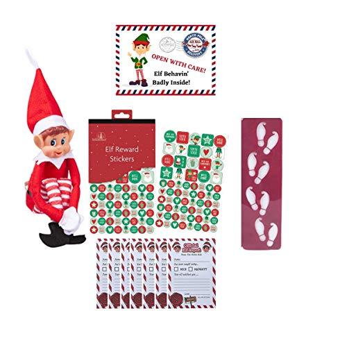 Muñeca de vinilo de Navidad con 25 informes, pegatinas de recompensa y plantilla de huellas, nietos, niños, niñas, unisex