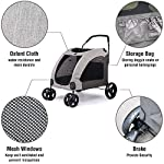 Dog Stroller For Large Pet Jogger Stroller For 2 Dogs Breathable Animal Stroller With 4 Wheel And Storage Space Pet Can Easily Walk In/Out Travel Up To 120 Lbs(55kg) 12