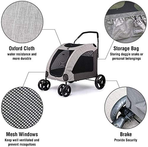 Dog Stroller For Large Pet Jogger Stroller For 2 Dogs Breathable Animal Stroller With 4 Wheel And Storage Space Pet Can Easily Walk In/Out Travel Up To 120 Lbs(55kg) 3
