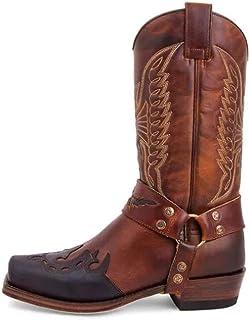 Hommes Western Cowboy Knight Bottes Fermeture éclair latérale Bottes Hautes Grande Taille Vintage Broderie en Cuir Bottes ...