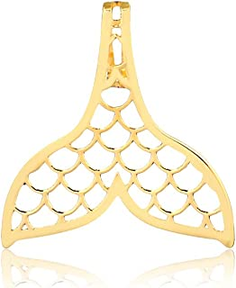 18k Solid Yellow Gold Mermaid Tail Shaped Pendant for Necklace for Women, Girls and Teens