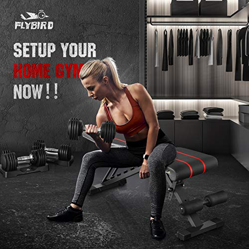 Product Image 3: FLYBIRD Adjustable Bench,Utility Weight Bench for Full Body Workout- Multi-Purpose Foldable incline/decline Bench (Black)