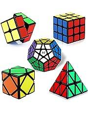 ROXENDA Magic Cube Set, [5 Pack] Speed Cube Set of 2x2x2 3x3 Skew Megaminx Pyramid Magic Cube, Smooth 3D Puzzles Magic Cube, IQ Games for Kids