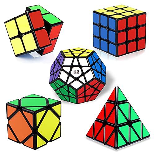 ROXENDA Cubos de Velocidad, Speed Cube Set de 2x2 3x3 Pirámide Megaminx Skew Cube, Torneado Fácil y Juego Suave Magic Cube Colección de Rompecabezas