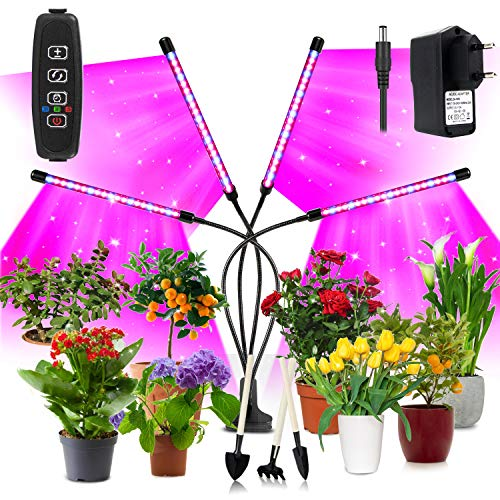 Niello Pflanzenlampe LED 40W Pflanzenlicht 80 LEDs Pflanzenleuchte Wachstumslampe Wachsen licht Vollspektrum mit 10 Stufen, 3 Modi, 4 Heads Wachstumslampe mit Zeitschaltuhr für Gartenarbeit Bonsais