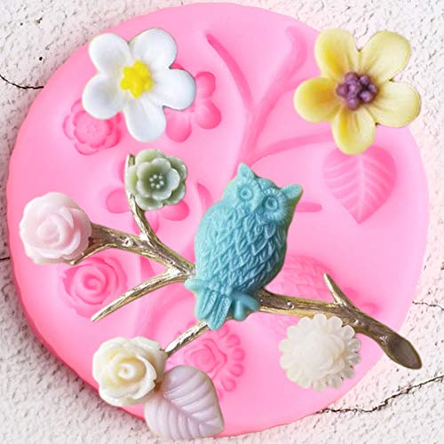 SIMUER Tree Branch Border Silicone Molds Flower Leaves Owl Cupcake Topper Fondant Cake Decorating Tools Candy Clay Chocolate Mould