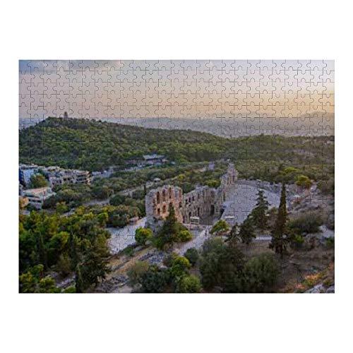 Rompecabezas de 500 piezas para adultos Vista aérea Ruinas de Atenas Rompecabezas de madera Odeon (50 * 35cm)