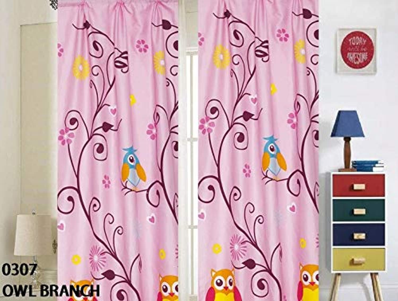 Superior Home Kids Girls Window Curtain Panels with tiebacks (4 Piece Set), Owl Design Print Window Curtain for Girls Kids, Pink Girls Kids Teens Room Décor