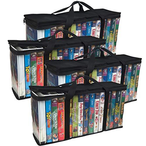 Evelots VHS Storage Bag-Movie Organizer-Video Tape-Handles-Hold 60-No Dust-Set/4