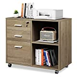 DEVAISE 3-Drawer Wood File Cabinet with Lock, Mobile Lateral Filing Cabinet, Printer Stand with Open Storage Shelves for Home Office, Gray Oak