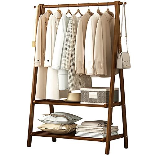 Estantes de exhibición de ropa, perchas de madera maciza, percheros de pie, gran capacidad de carga, anticorrosión y resistente al desgaste, uso comercial en el hogar, etc. / leonado / 116 * 40 * 16
