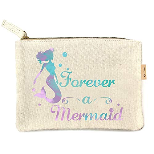 Me Plus Eco Zipper Pouch Stylish Printed, Traveler Organizer, Cosmetic Small Makeup, Students BTS Organization Bag - 22 Pattern options (Forever a Mermaid)