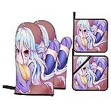Anime No Game No Life Manoplas de Horno y Porta ollas Resistentes al Calor 4-Piece Set Guantes de de Alta Resistencia Alfombrillas seguras mostrador de Tejido de poliéster avanzado 714