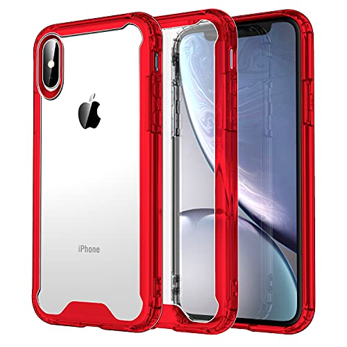 Krichit Shockproof Case for iPhone Xs Max Clear Case Hard PC Back Anti-Scratch, Soft TPU Bumper, Protective Cover for iPhone Xs Max (Red)