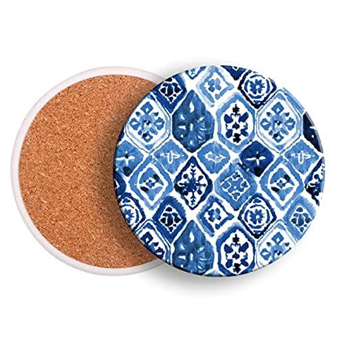 Juego de 2 posavasos para bebidas, diseño de azulejos arabescos y piedra de cerámica para bebidas con base de corcho para protección de mesa, evitar daños en muebles