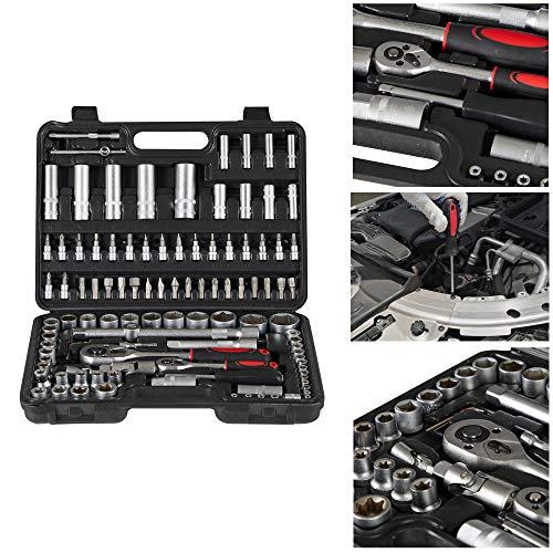 Arebos 108-tlg. Werkzeugkoffer | Steckschlüsselsatz | Steckschlüssel- und Bitsatz | Ratschenkasten | Innensechskantschlüssel | Koffer inkl. Zubehör