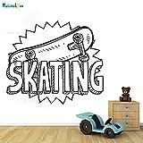 zhuziji Skateboard Skateboard Kunst Wandaufkleber Vinyl Applique Skateboard Wohnkultur Kinderzimmer...