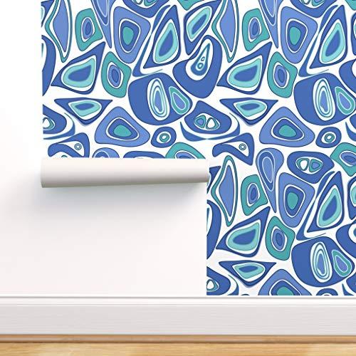 blau, retro, modern, abstrakt, kreativ, modisch, sechziger Jahre, blau und weiß Spezialangefertigte Vorgekleisterte Tapete 61 cm x 310 cm von Spoonflower