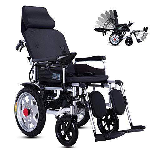LFjuanfa Sillas de Ruedas eléctricas Plegables, Plegables Power Compact Mobility Aid Wheelchair, Lightweight Electric Power Wheelchair Reclining, Scooter médico portátil