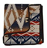 Ruth&Boaz Outdoor Wool Blend Blanket Ethnic Inka Pattern(Q) (Navy, Large)