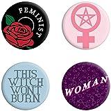Grindstore - Paquete de chapas feministas modelo This Witch Won`t Burn (Tamaño Único) (Multicolor)