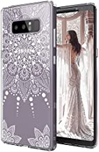 MOSNOVO Case for Galaxy Note 8, White Henna Mandala Floral Lace Clear Design Printed Transparent Plastic Hard Back Case with TPU Bumper Protective Case Cover for Samsung Galaxy Note 8