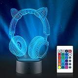 Faminess Interruptor táctil de luz nocturna 3D 16 colores Cambio automático Decoración de escritorio Lámparas LED con control remoto para niñas Niños Niños Niños