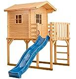 XXL Stelzenhaus mit Rutsche Kinderspielhaus Veranda Balkon Spielhaus aus Holz