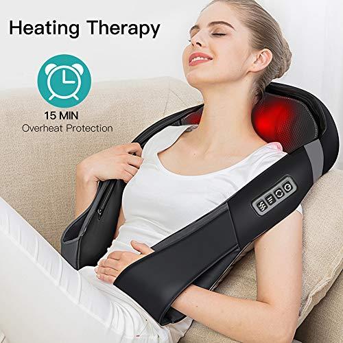 5177nr74QOL - Masajeador de Cuello Hombros Espalda Eléctrico con Función de Calor, Shiatsu Masajeador Cervical, Masaje de Rotación 3D, Velocidad Ajustable, Relajación para Cuello y Hombros en Casa, Oficina o Coche