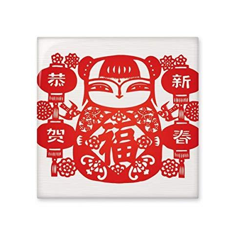 DIYthinker rood meisje papier gesneden bloem lantaarn glanzende keramische tegel badkamer keuken muur steen decoratie ambachtelijke gift Small