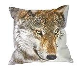 Kissenhüllen Kissenbezug 40x40 Kissen Dekokissen Kuschelkissen Tiermotive (Wolf 73151)