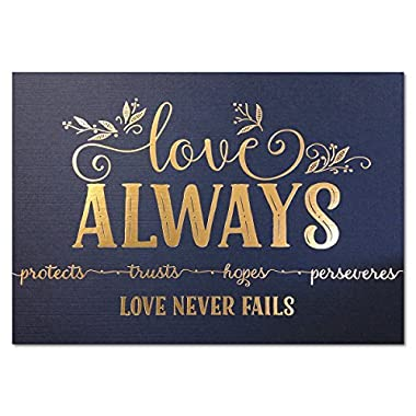 5x7 Love Never Fails, 1 Cor 13 Christian Art Print, UNFRAMED Metallic Gold Foil Bible Verse Wall Art