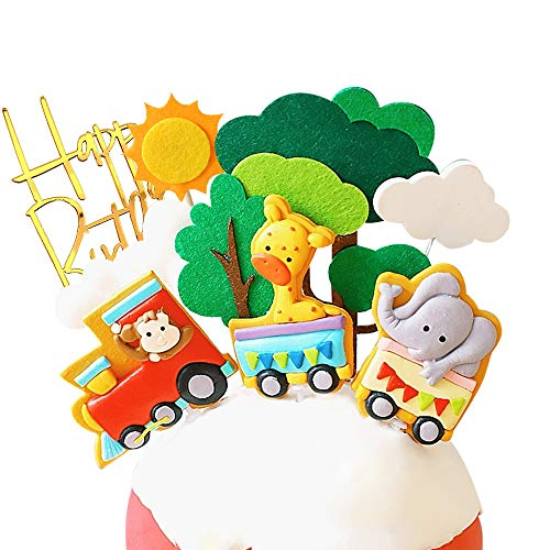 Forest Animal Train Cake Toppers - Set of 9 - Handmade Clay Monkey,Giraffe,Elephant Train, Tree, Clouds, Sun and Happy Birthdany Cake Topper