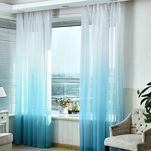SIMPVALE 1 Pieza Cortinas de Gasa - degradados - Visillos Transparente - para Dormitorio, la Sala de Estar, balcón, Salon (Azul con Blanco, Ancho 150cm / Altura 260cm)