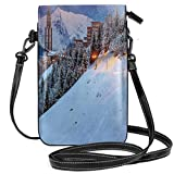 Women Small Cell Phone Purse Crossbody,Majestic Winter Sunrise Landscape And Ski Resort Spruce Pine Forest French Alps