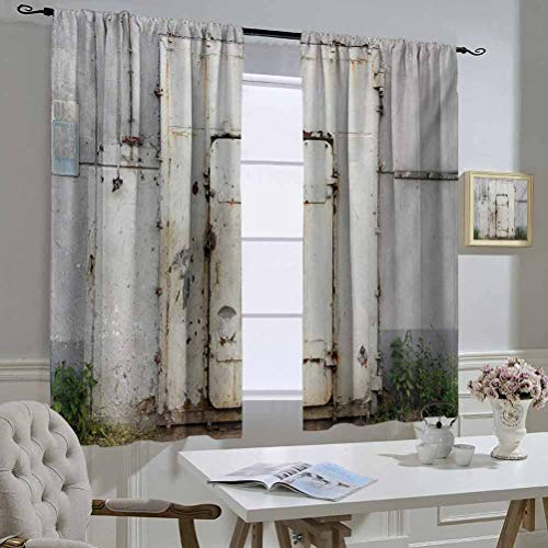 Mozenou Industrial Black Out Window Curtain Closed Worn Out Rusty Iron Door of an Abandoned Building Factory Picture The Best Choice for Bedroom and Living Room 55x45 Inch Beige Brown Green