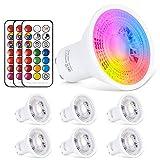 GU10 LED Lampe RGB+Warmweiss Farbwechsel Spot Licht 6W, 540LM, RGBW Dimmbar durch mit Fernbedienung...
