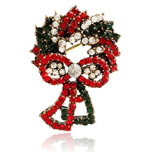 BaiXing Europa und Amerika Adventskranz Diamanten dreidimensionale Brosche Retro feine Legierung Weihnachten Blumenbrosche Weihnachten Geschenk Stift einfach Schmuck (Color : Gold)