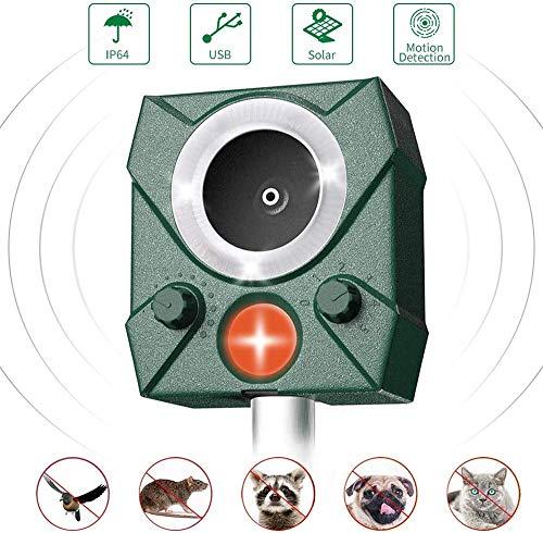 LINGKY Katzenschreck Ultraschall Solar, wasserdichte Utraschall Abwehr, PIR-Sensor und Blinklicht, 5 einstellbare Modi, für Hof/Rasen/Garten/Bauernhof, USB/Batteriebetrieb (1 Pack)