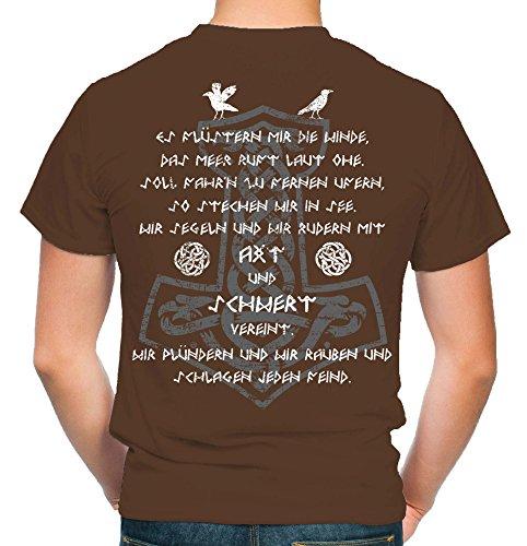 Axt & Schwert Männer und Herren T-Shirt | Vikings Wikinger Ragnar ||| FB (XL, Braun)