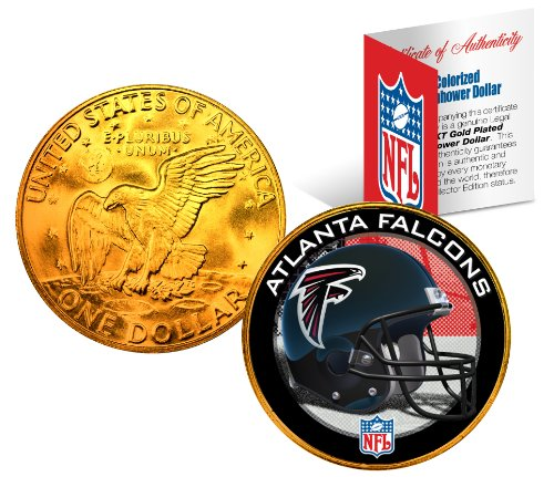 ATLANTA FALCONS NFL 24K Gold Plated IKE Dollar US Coin OFFICIALLY LICENSED with NFL Certificate