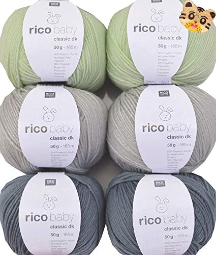 Woll-Set Rico Baby Classic 6x50g #35, Strickpaket, Häkelpaket mit 1 Tigerknopf, weiche Babywolle zum Stricken und Häkeln