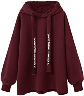 Women's Hoodie Solid Casual Long Sleeve Letter Print Hooded Fashion Sweatshirt Hoodies Hoodie f3e0w (Color : Red, Size : 5XL)